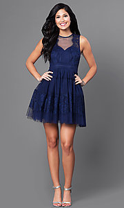 Image of navy blue short homecoming party dress with lace. Style: LP-23809 Detail Image 1