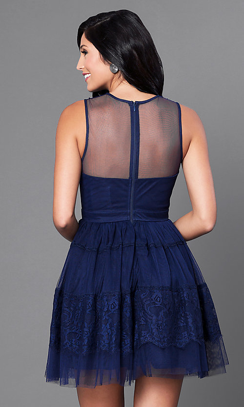 Image of navy blue short homecoming party dress with lace. Style: LP-23809 Back Image