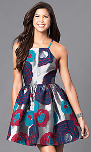 Floral-Print Racerback Short Party Dress