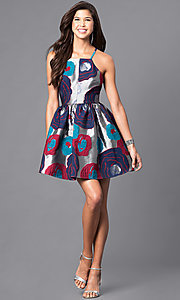 Image of floral-print racerback short party dress. Style: LP-24145 Detail Image 1