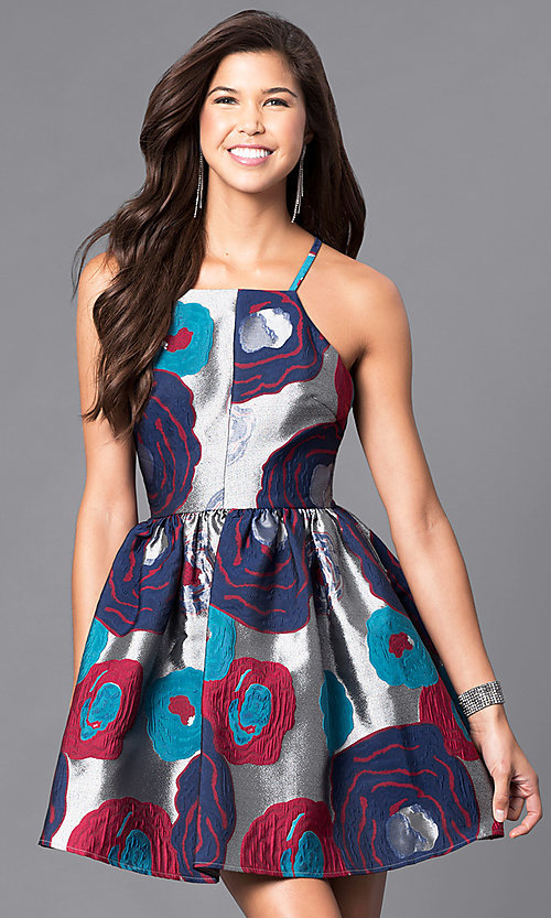 Image of floral-print racerback short party dress. Style: LP-24145 Front Image