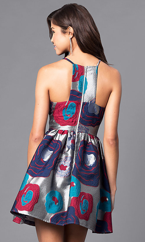 Image of floral-print racerback short party dress. Style: LP-24145 Back Image