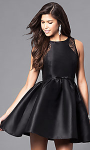 Short Party Dress with Lace Insets and Front Bow