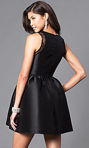 Image of short party dress with lace insets and front bow. Style: LP-24174 Back Image