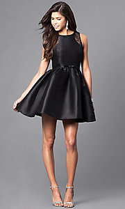 Image of short party dress with lace insets and front bow. Style: LP-24174 Detail Image 1