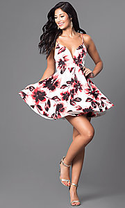 Image of short floral-print v-neck homecoming party dress. Style: TR-CD12236 Detail Image 1