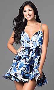 Image of short floral-print v-neck homecoming party dress. Style: TR-CD12236 Detail Image 2