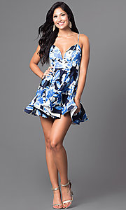 Image of short floral-print v-neck homecoming party dress. Style: TR-CD12236 Detail Image 3