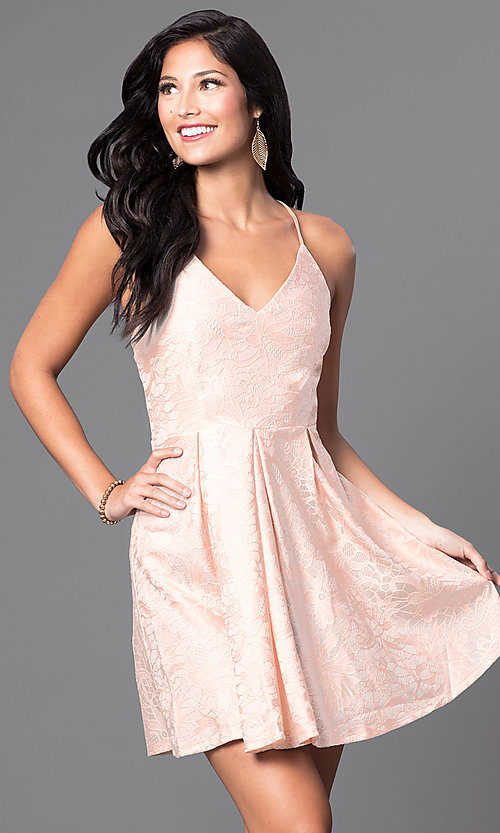 Image of short v-neck spaghetti-strap lace homecoming dress. Style: TR-CD11686-5 Front Image