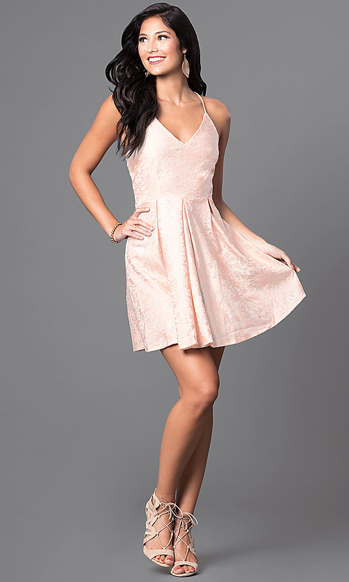 Image of short v-neck spaghetti-strap lace homecoming dress. Style: TR-CD11686-5 Detail Image 1