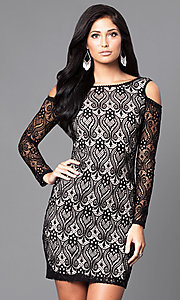 Long Sleeve Lace Cold Shoulder Party Dress