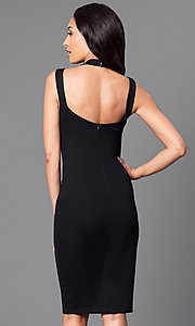 Image of black knee-length dress with scoop-neck halter neckline. Style: MD-D14945ADK Back Image