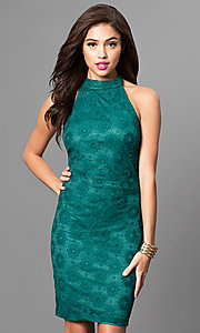 Affordable High-Neck Halter Short Lace Party Dress