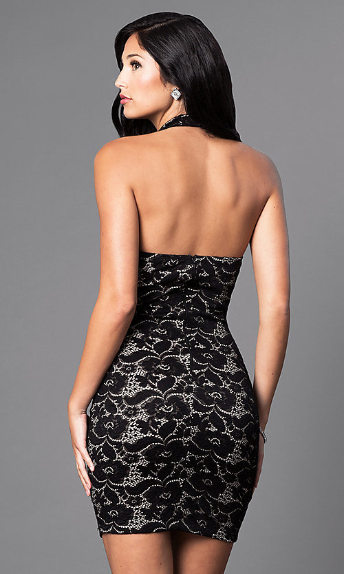 Image of inexpensive short lace halter party dress. Style: SY-ID3470VP Back Image