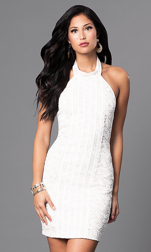 Image of inexpensive short lace halter party dress. Style: SY-ID3470VP Detail Image 2