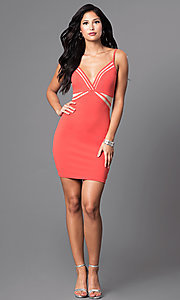 Image of short v-neck spaghetti-strap party dress with cutouts. Style: SY-ID3576VP Detail Image 1