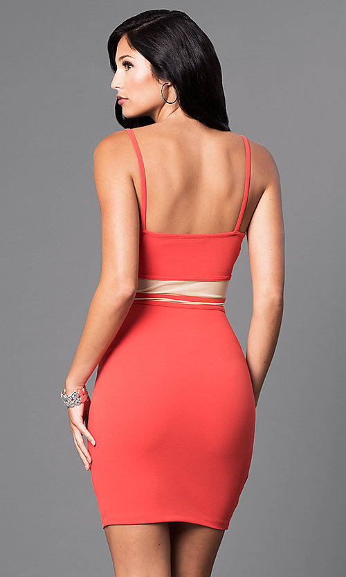 Image of short v-neck spaghetti-strap party dress with cutouts. Style: SY-ID3576VP Back Image