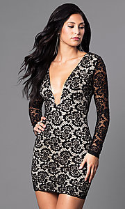 Image of low v-neck black lace mini party dress with sleeves. Style: SY-ID3227EP Front Image