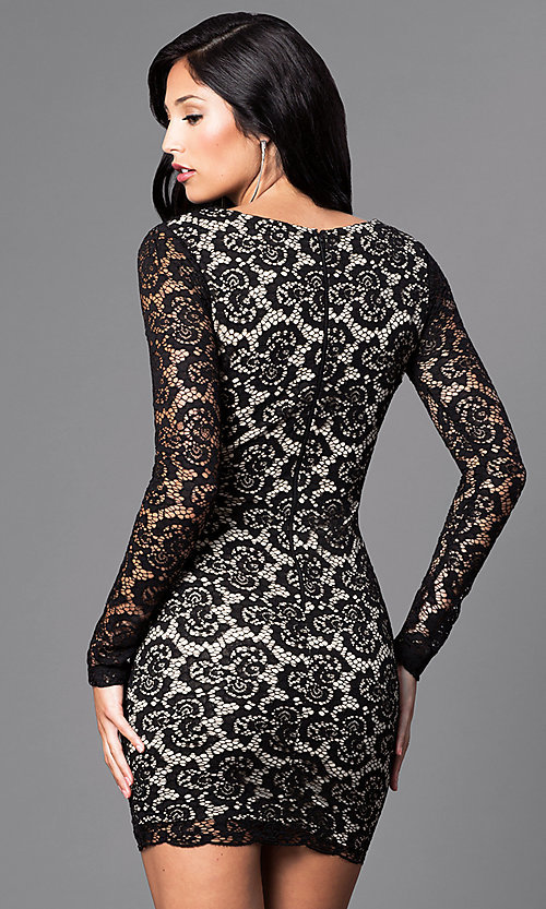 Image of low v-neck black lace mini party dress with sleeves. Style: SY-ID3227EP Back Image