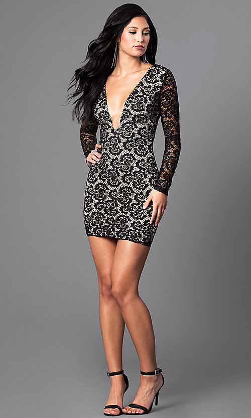 Image of low v-neck black lace mini party dress with sleeves. Style: SY-ID3227EP Detail Image 1