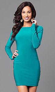 Long-Sleeve Short Party Dress with Back Cut Outs