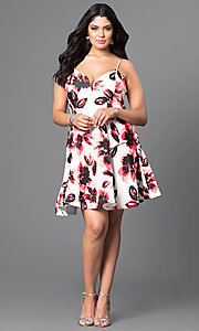 Image of floral-print semi-casual plus-size dress.  Style: TR-CD12236P Detail Image 3