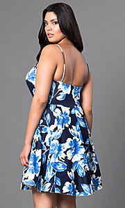 Image of floral-print semi-casual plus-size dress.  Style: TR-CD12236P Back Image