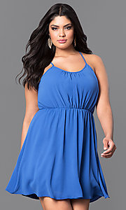 Image of plus-size sleeveless short party dress. Style: TR-CD12125-2P Detail Image 2