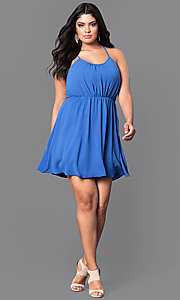 Image of plus-size sleeveless short party dress. Style: TR-CD12125-2P Detail Image 3