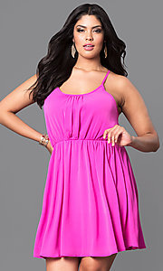Image of plus-size sleeveless short party dress. Style: TR-CD12125-2P Front Image