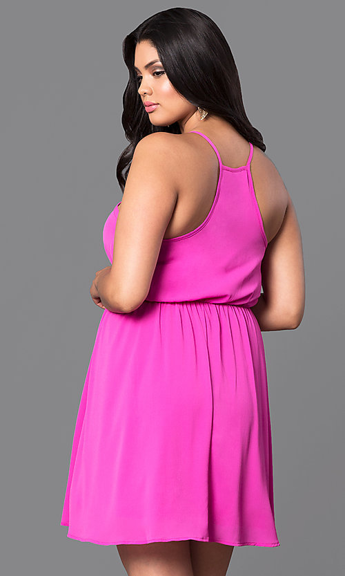Image of plus-size sleeveless short party dress. Style: TR-CD12125-2P Back Image