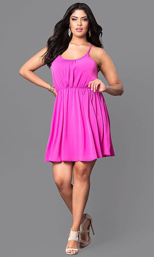 Image of plus-size sleeveless short party dress. Style: TR-CD12125-2P Detail Image 1