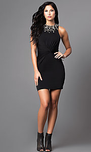 Image of short ruched-waist jeweled bodycon party dress. Style: MT-8066 Detail Image 1