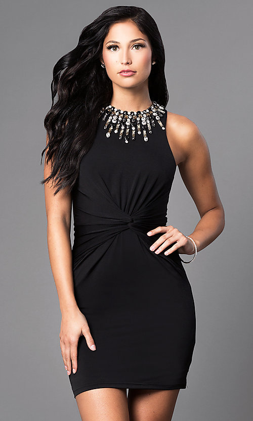 Image of short ruched-waist jeweled bodycon party dress. Style: MT-8066 Front Image