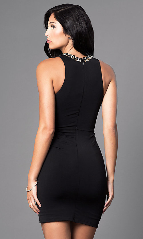 Image of short ruched-waist jeweled bodycon party dress. Style: MT-8066 Back Image