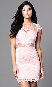 Cap Sleeve Short Pink Lace Dress