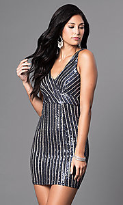 Image of navy striped-sequin short v-neck party dress. Style: MT-8034 Front Image