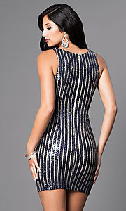 Image of navy striped-sequin short v-neck party dress. Style: MT-8034 Back Image