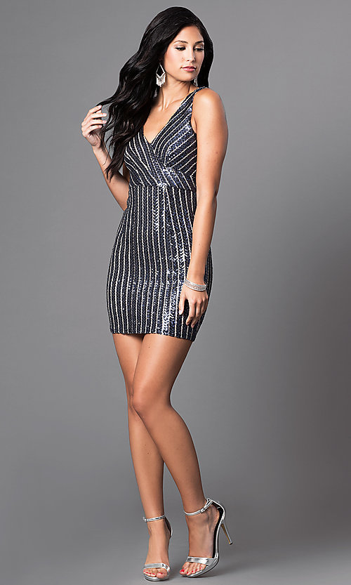 Image of navy striped-sequin short v-neck party dress. Style: MT-8034 Detail Image 1