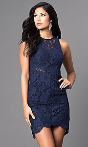 Image of short navy blue sleeveless lace homecoming dress. Style: MT-7973 Front Image