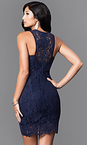 Image of short navy blue sleeveless lace homecoming dress. Style: MT-7973 Back Image