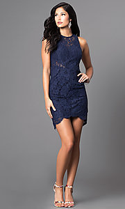 Image of short navy blue sleeveless lace homecoming dress. Style: MT-7973 Detail Image 1