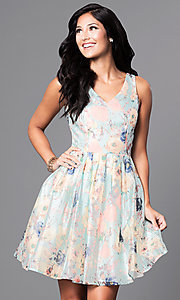 Short V-Neck Floral Print Dress