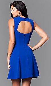 Image of short multi-strap party dress with back cut out. Style: MT-7559 Back Image