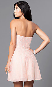 Image of short strapless affordable lace party dress. Style: MT-7181 Back Image