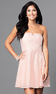 Image of short strapless affordable lace party dress. Style: MT-7181 Detail Image 1