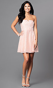 Image of short strapless affordable lace party dress. Style: MT-7181 Detail Image 2