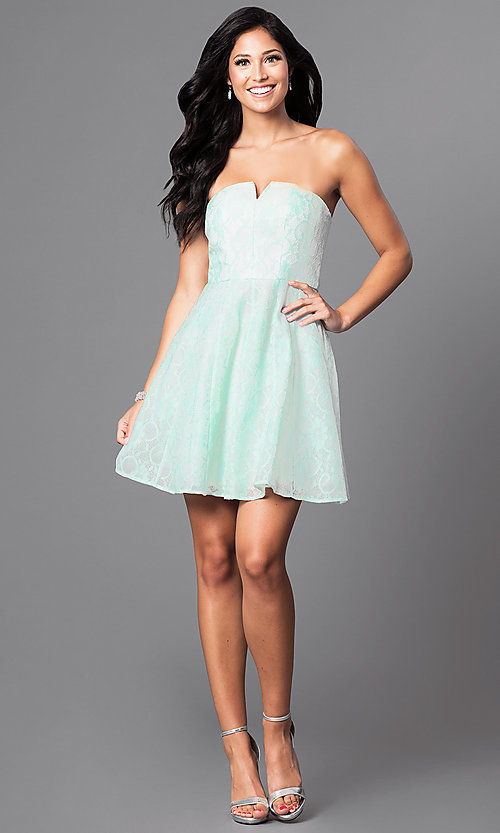 Image of short strapless affordable lace party dress. Style: MT-7181 Detail Image 3