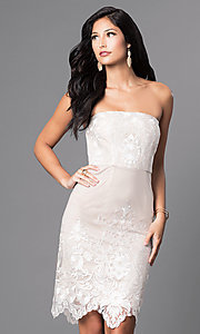 Knee Length Embroidered Lace Strapless Dress
