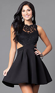 Image of mock two-piece lace-bodice short homecoming dress. Style: DC-44536 Front Image